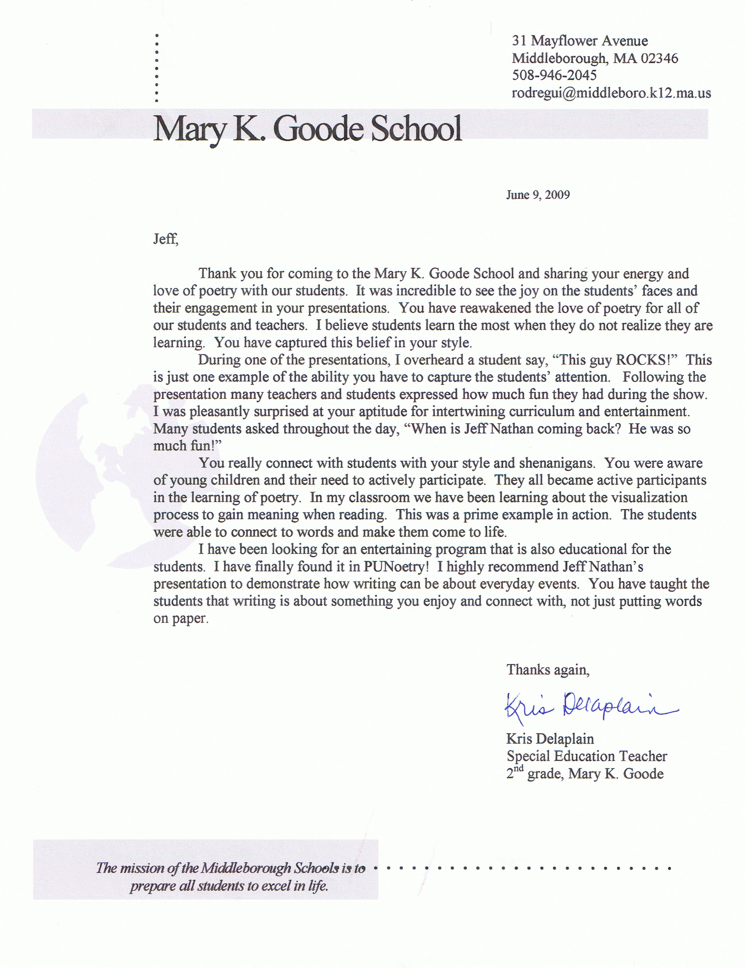Elementary School Reading Specialist Cover Letter